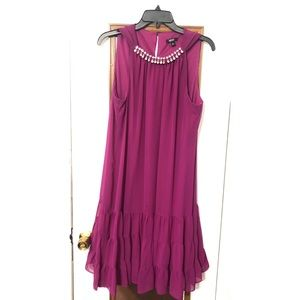 MSK Jeweled Neckline Ruffle Hem dress